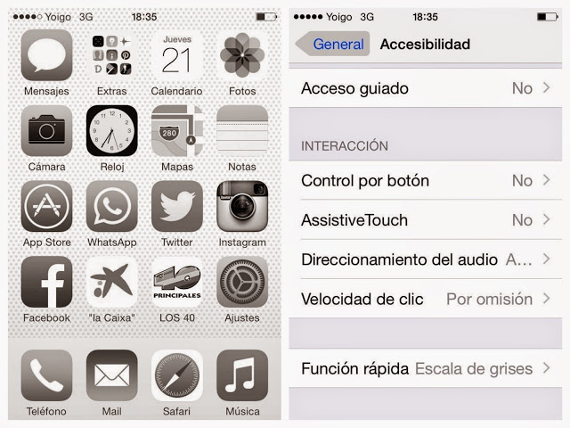 iPhone pantalla escala de grises