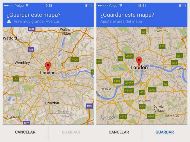 iPhone google maps guardar mapa