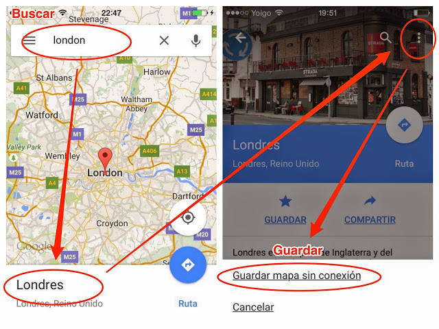 iPhone google maps descarga mapa