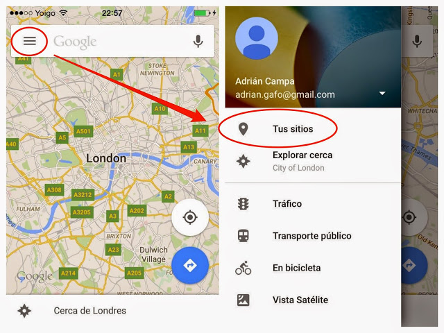 iPhone google maps acceso mapa offline