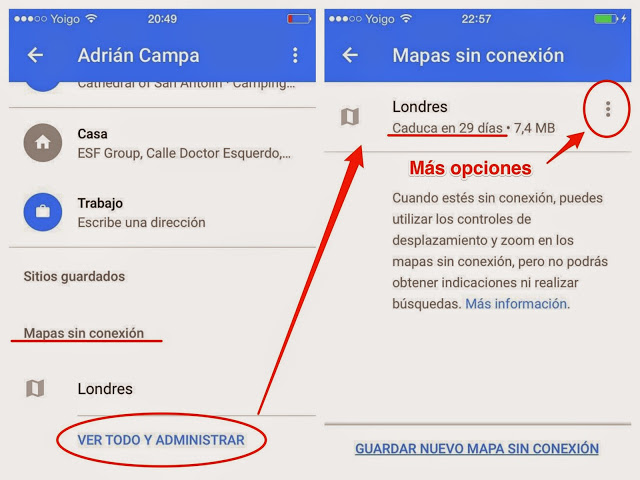 iPhone google maps ver mapa offline