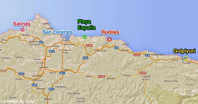 mapa mejores playas Asturias España