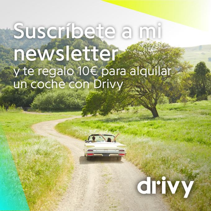 Sucripción a la Newsletter, 10€ de descuento en Drivy