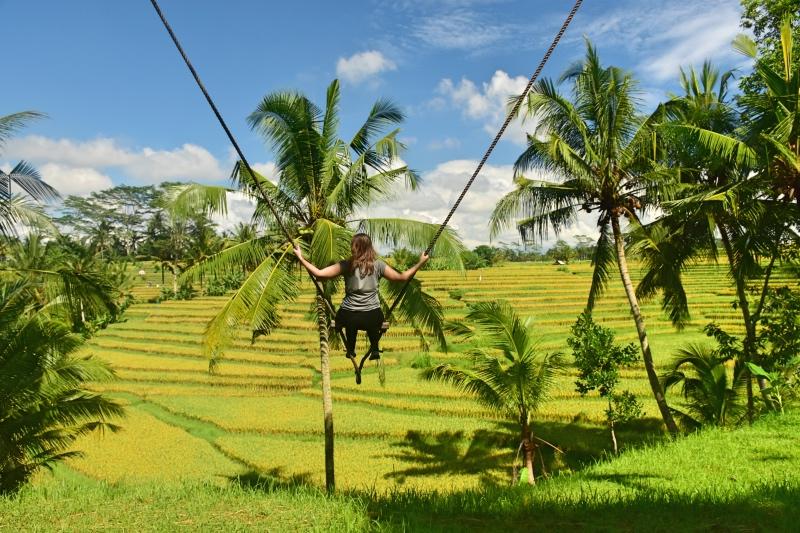 Columpio privado con vistas en nuestra casa en Ubud