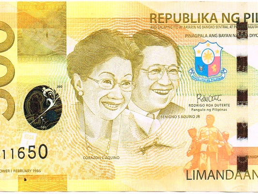 presupuesto filipinas billete 500 pesos