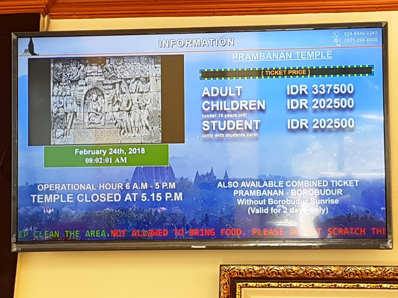 presupuesto viajar indonesia precio Prambanan 2018