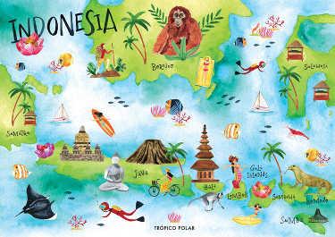 mapa ilustrado Indonesia tropicopolar