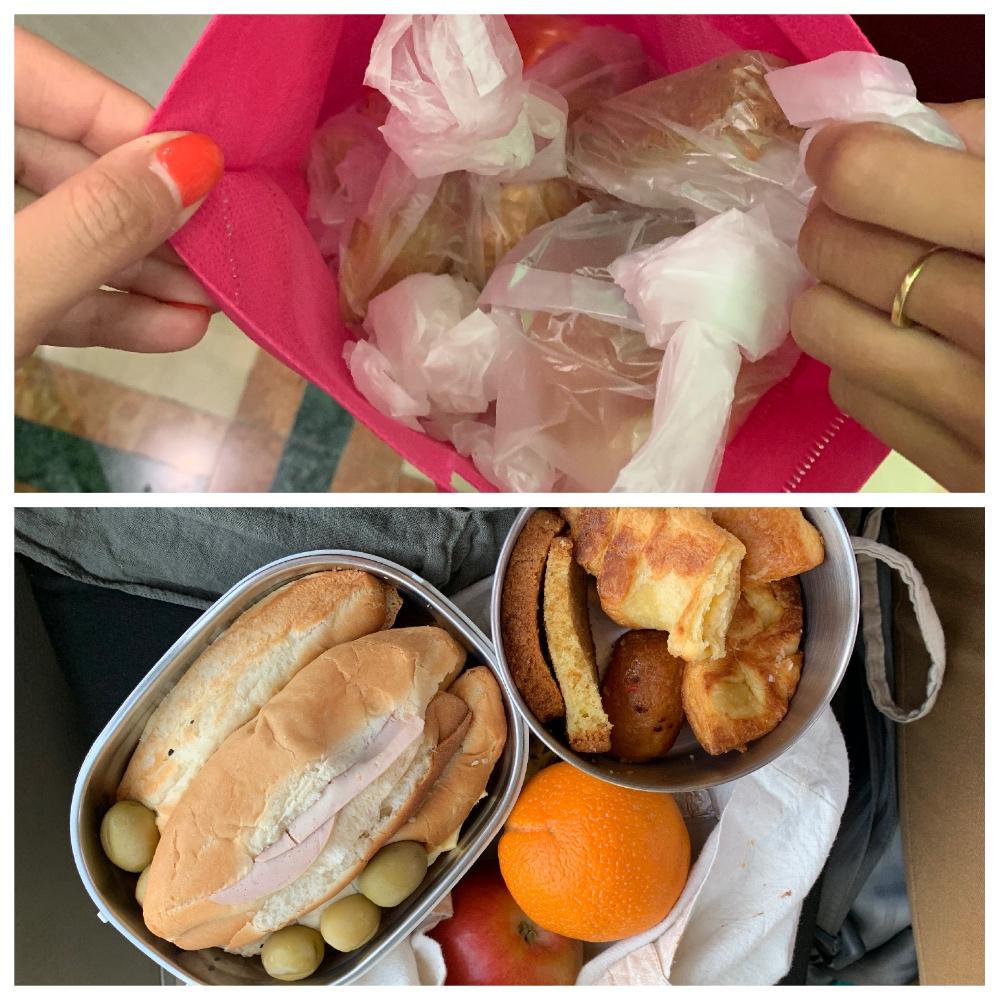 comparativa entre el desayuno con plástico y sin plástico del crucero