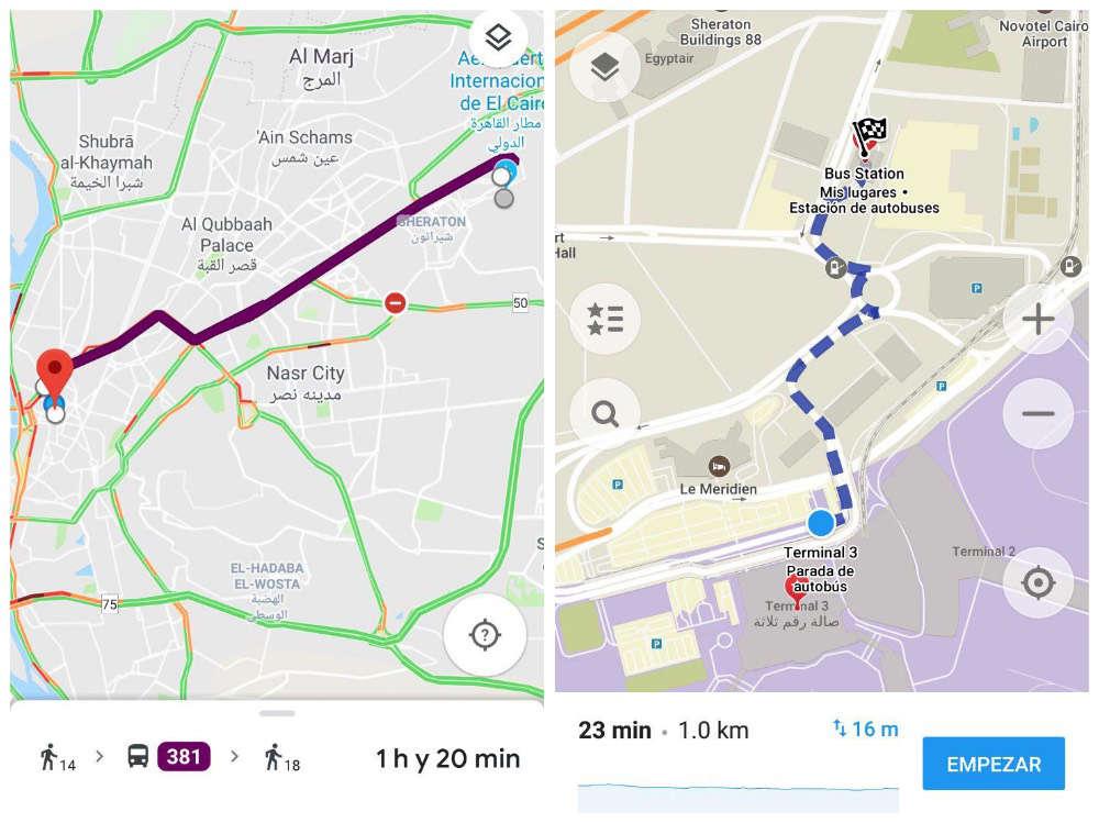 Cómo moverse por Egipto: mapa trayecto bus aeropuerto el cairo