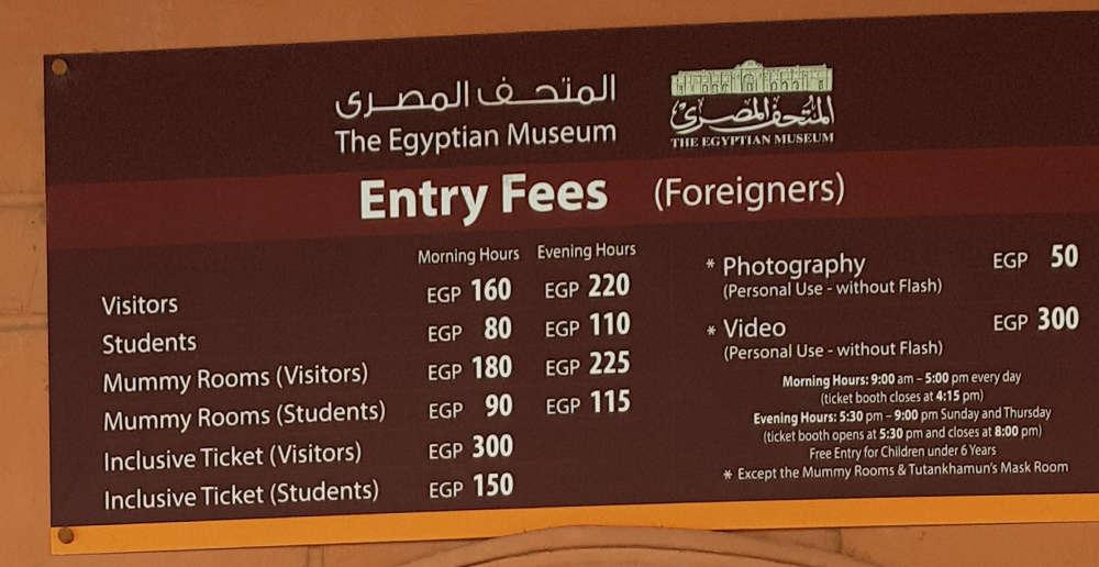 presupuesto para viajar a Egipto: precios museo nacional El Cairo