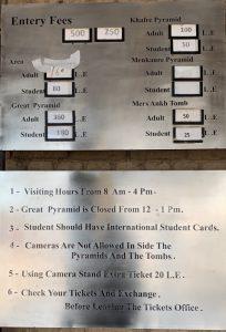 Los precios para visitar las Pirámides de Giza