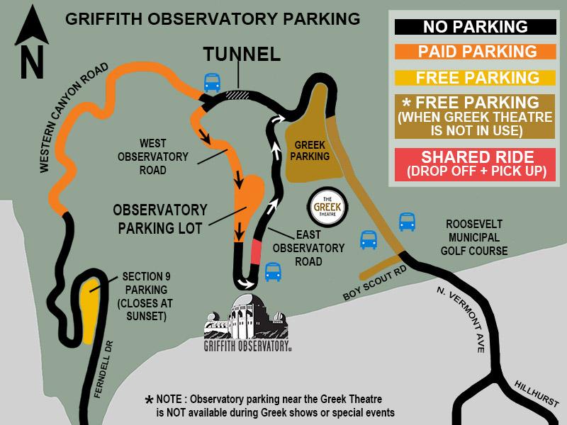 Mapa de aparcamiento del observatorio Griffith
