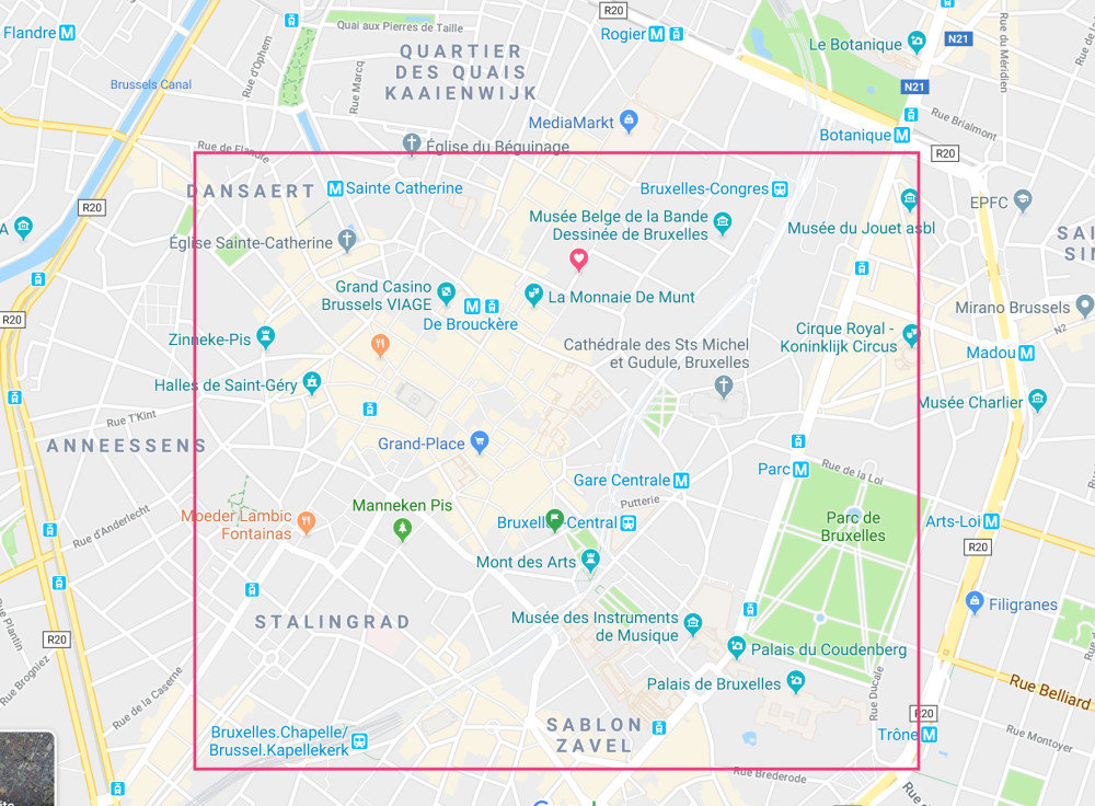 El mapa de Bruselas y, marcada, la mejor zona donde dormir en Bruselas
