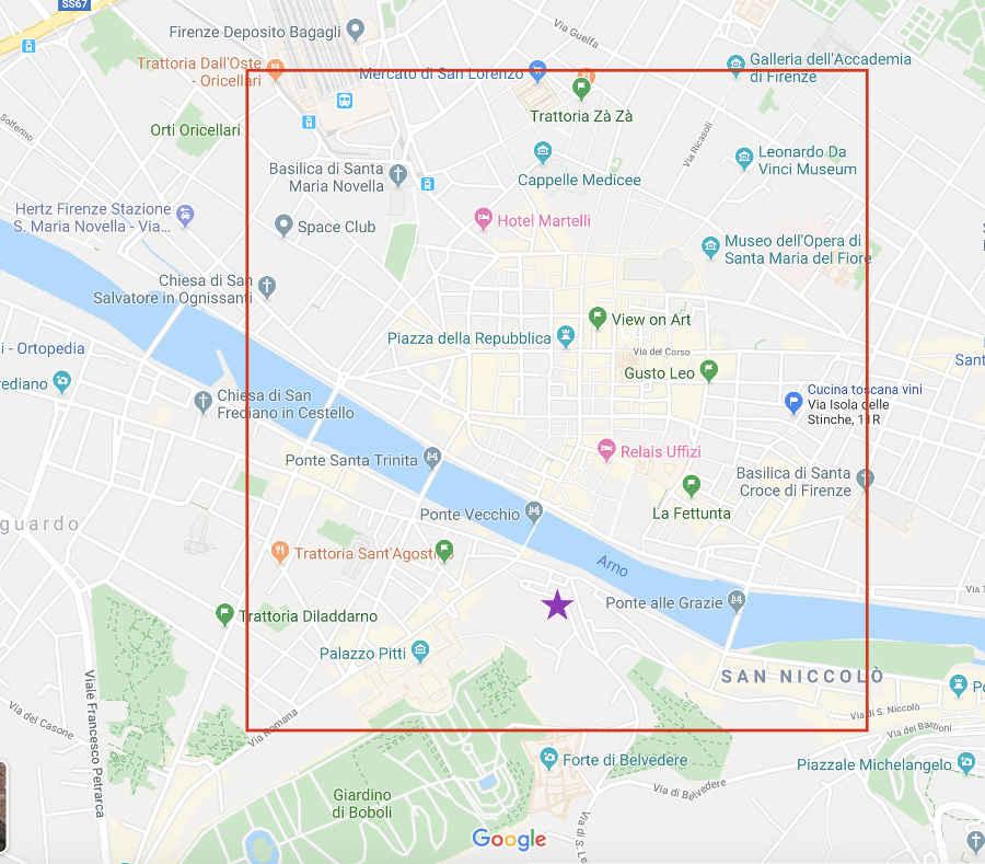 Mapa con la mejor zona donde dormir en Florencia