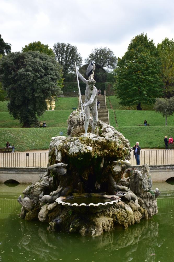 La fuente de Neptuno en los Jardines Boboli