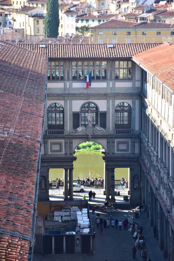 Visitar la Galería Uffizi: La Galería Uffizi desde el Palazzo Vecchio