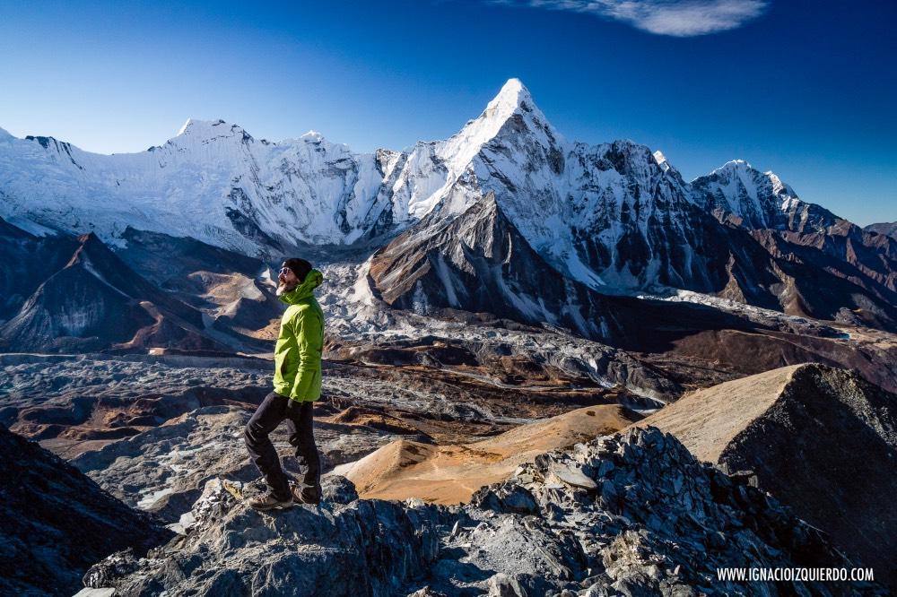 Ignacio Izquierdo en Chhukung Ri, a 5546 metros de altura.
