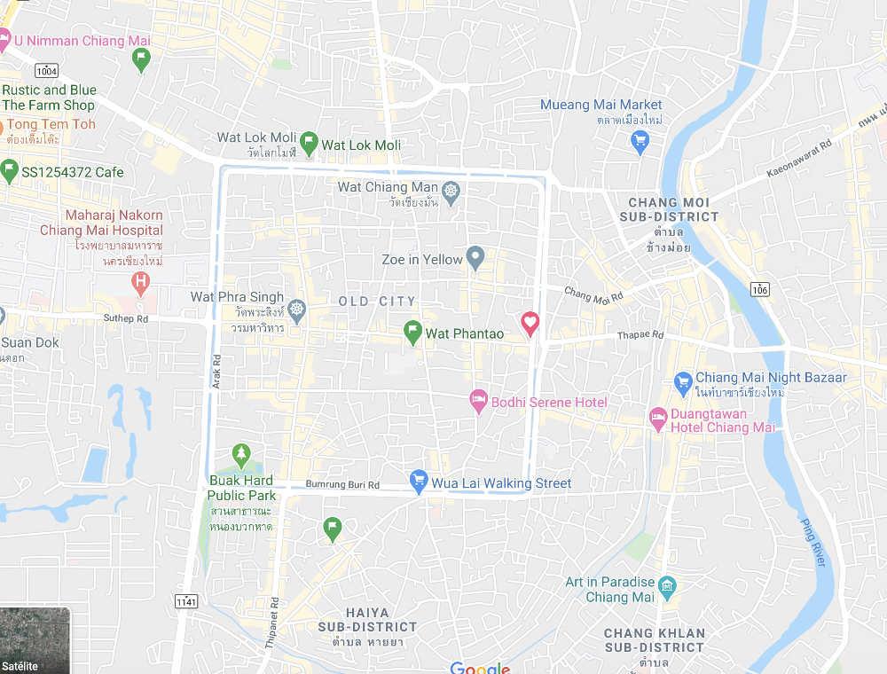 La ciudad de Chiang Mai. El cuadrado es la muralla que rodea a la ciudad antigua.