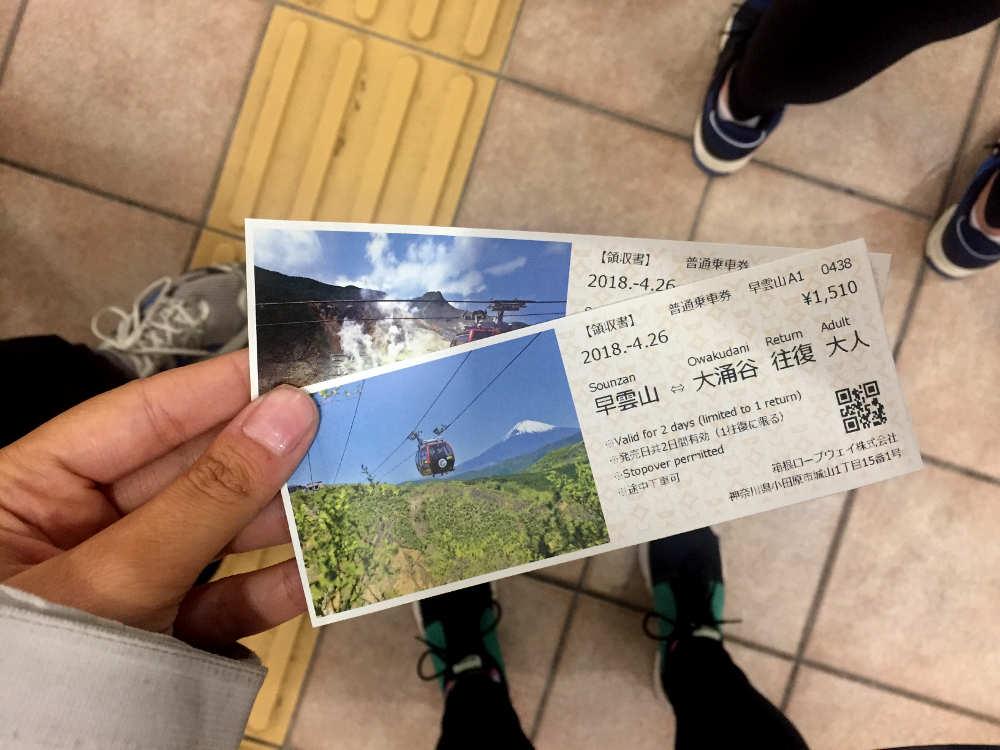 Dos tickets de ida y vuelta a Owakudani, precio 1,510 yen.