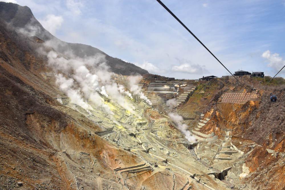 ladera de montaña volcánica donde se ve mina de azufre de color amarillo con varias chimeneas echando humo.