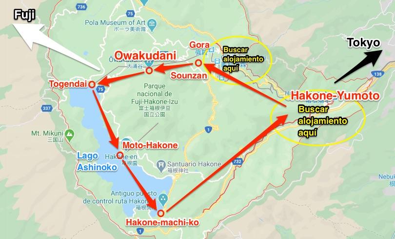 mapa Hakone con poblaciones importantes zonas para alojarse e itinerario ruta de los transportes