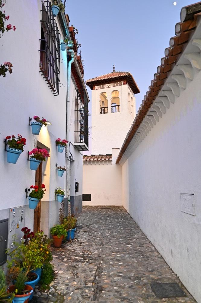 Calle estrecha, paredes de las fachadas blancas. Macetas de geranios colgando de una de las casas.
