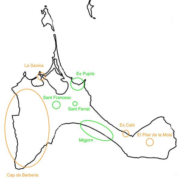 mapa Formentera de línea negra y fondo blanco con las principales áreas donde dormir en Formentera aparecen los nombres y círculos marcando el área