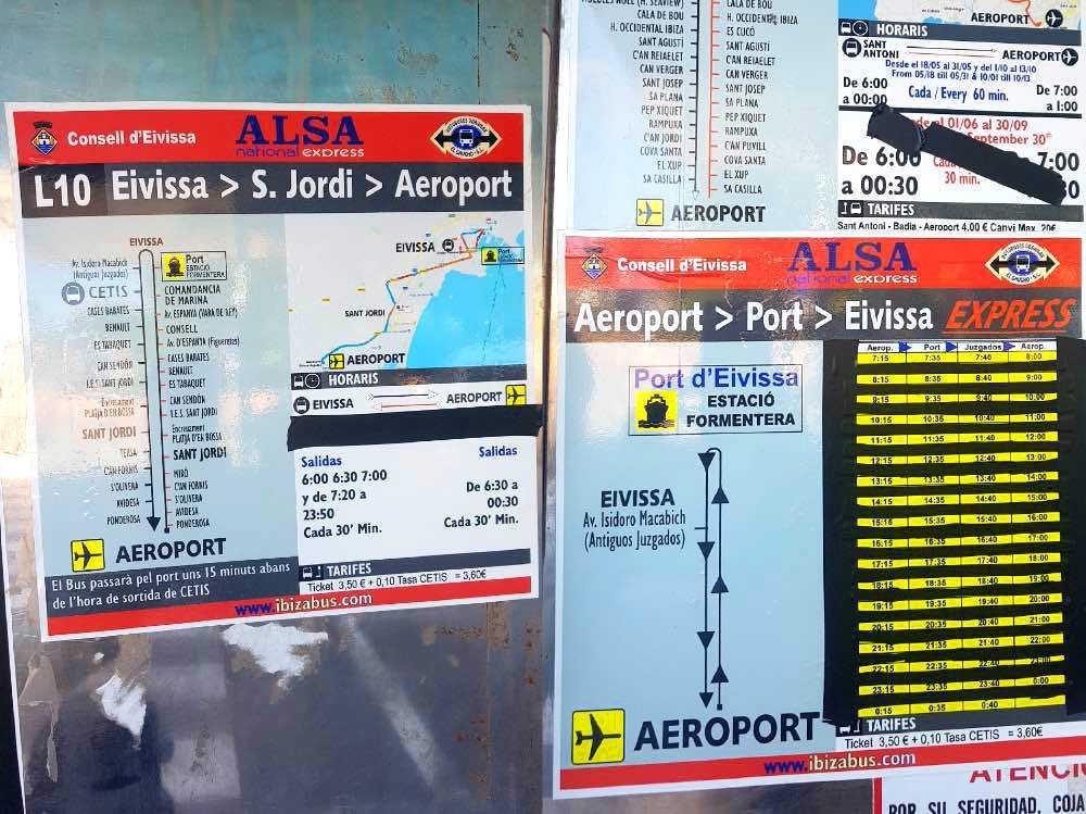 Cómo llegar a Formentera en ferry: dos hojas con los horarios y trayectos de los autobuses L-10 y Aeroport express hacia el puerto de ibiza, carteles de colores con dibujos de los trayectos y tablas con los horarios