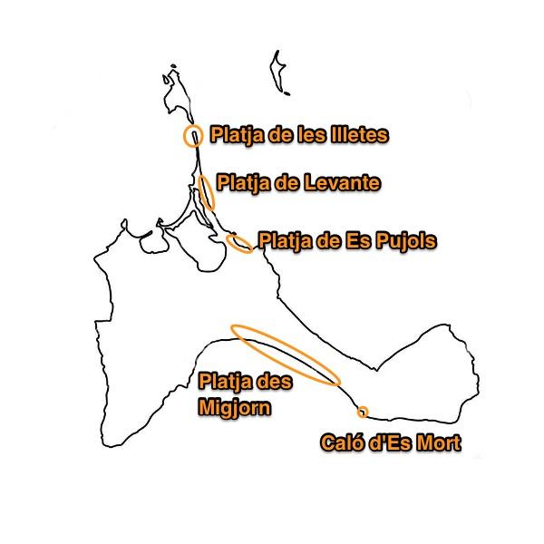 mapa silueta de Formentera con las principales playas marcadas