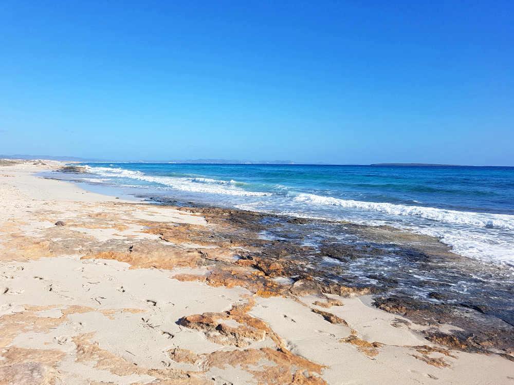 Qué hacer en Formentera: vista general playa con piedra, las olas rompen con espuma blanca, cielo y mar azul