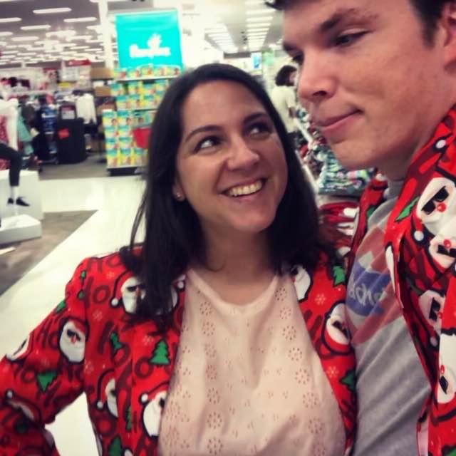 Selfie de Belén con su marido en un supermercado