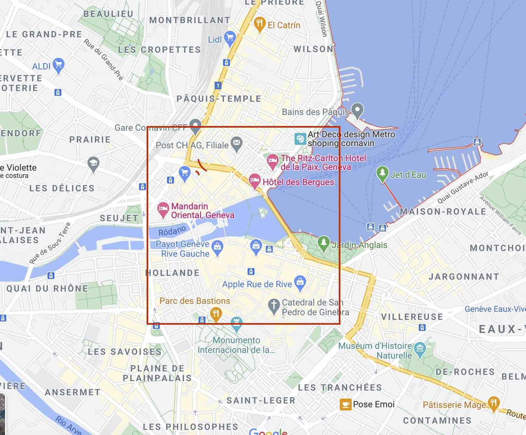 Mapa de Ginebra con la zona centro marcada en rojo