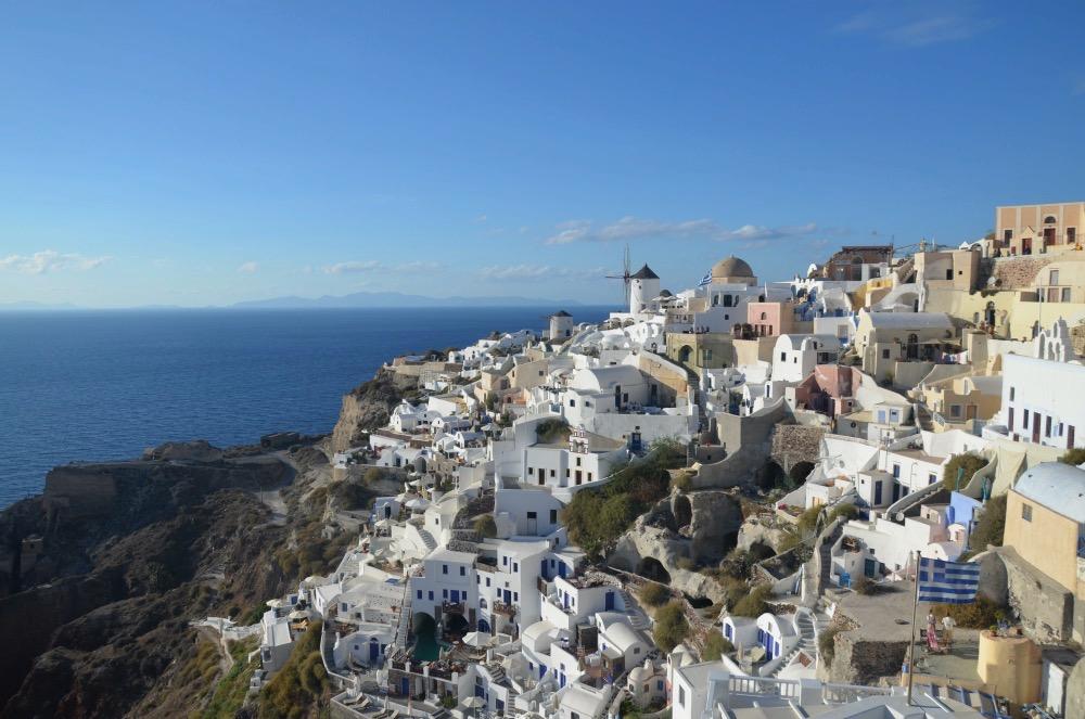 La postal clásica de Santorini
